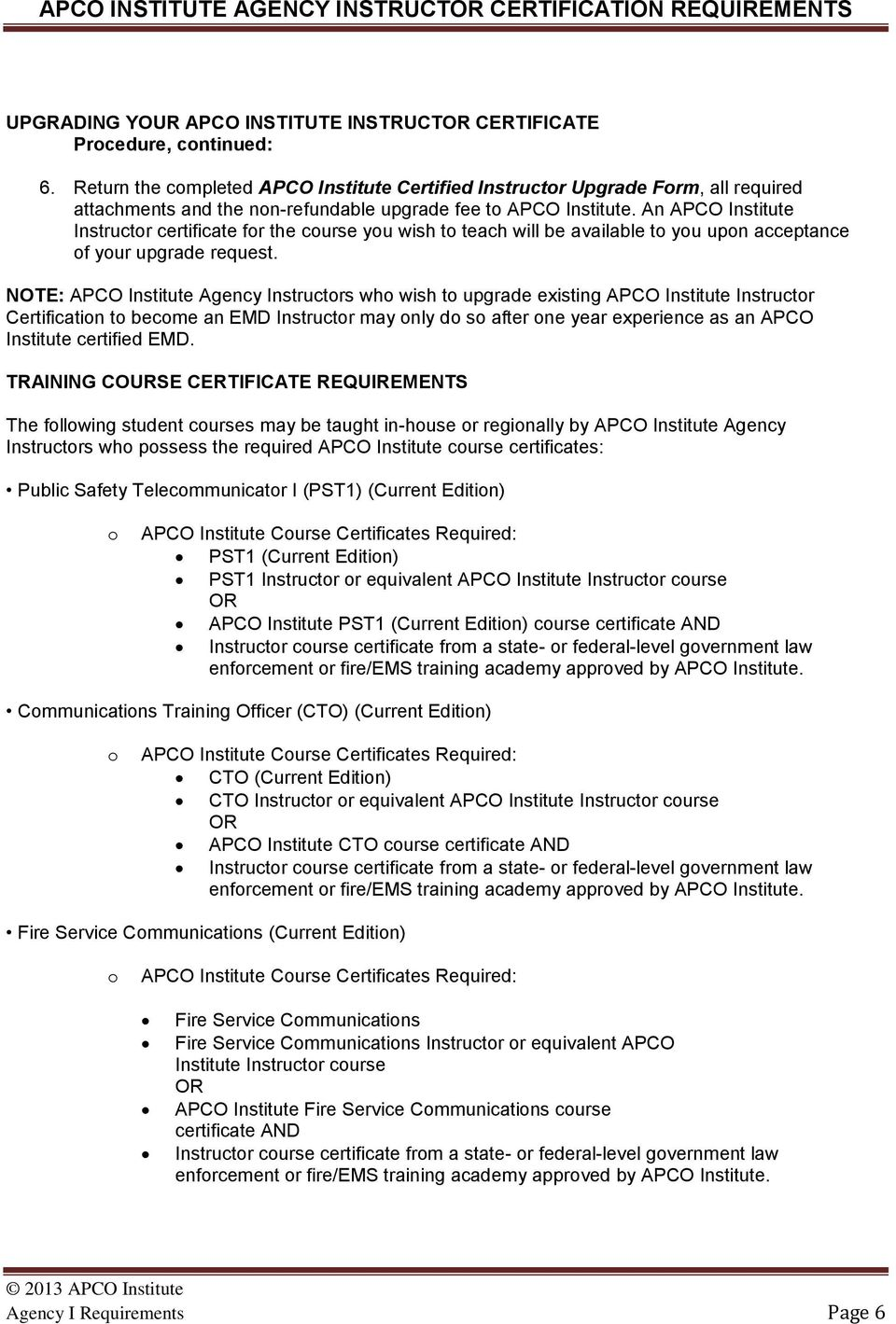 Apco Institute Agency Instructor Certification Requirements Pdf