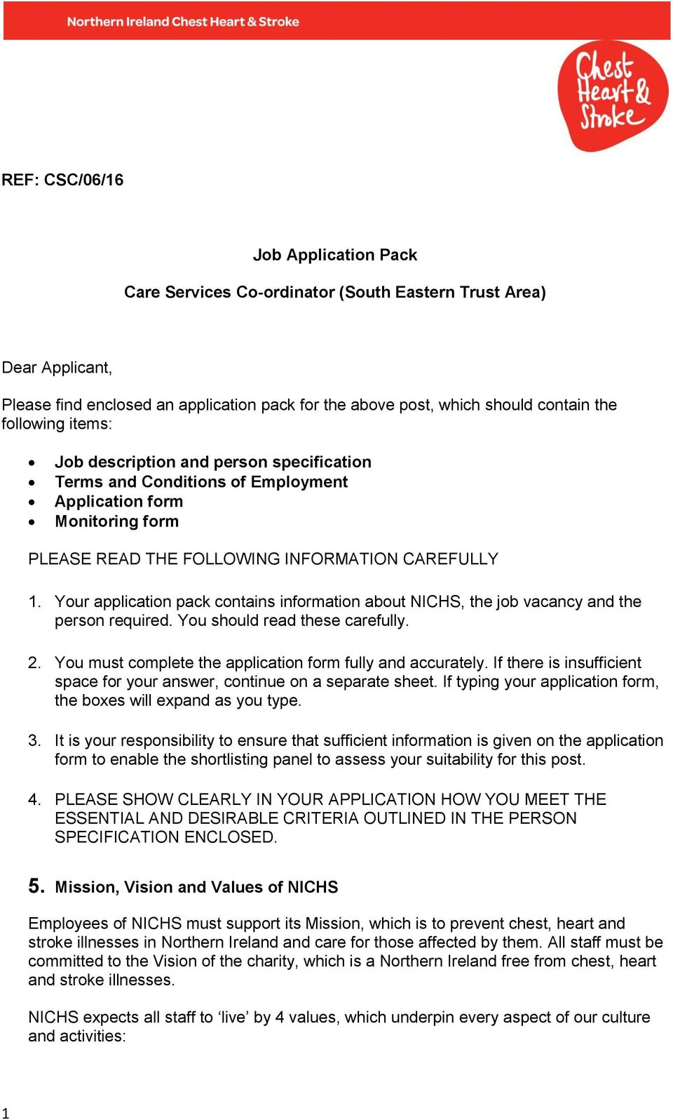 Job Application Pack. Care Services Co-ordinator (South Eastern ...
