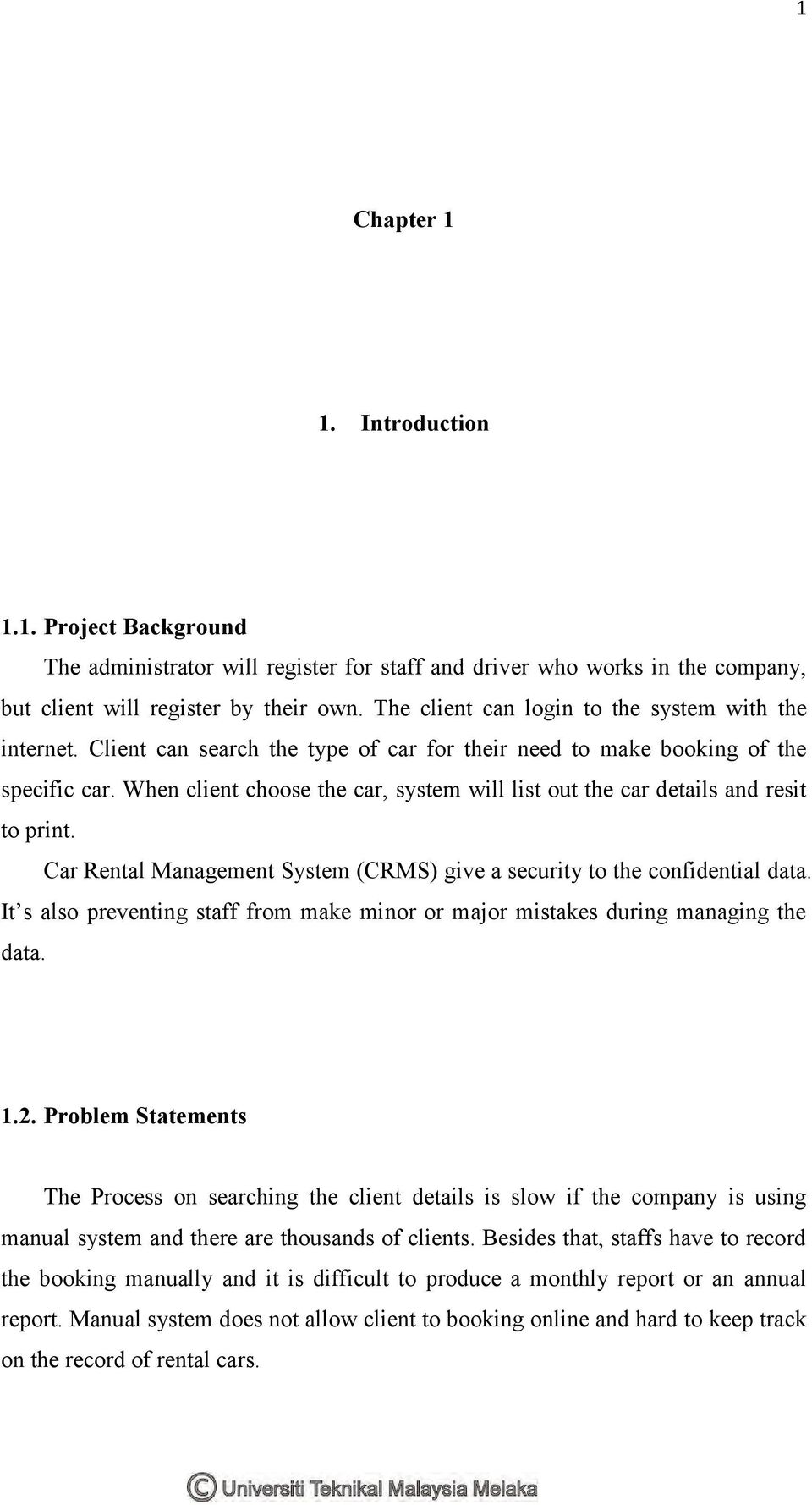 literature review on car rental system project