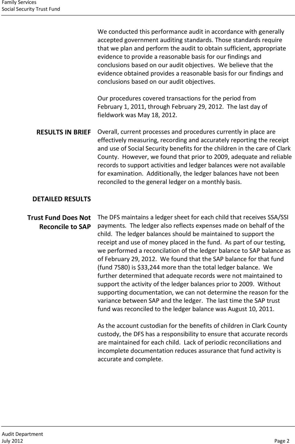 Audit Report  Family Services Social Security Trust Fund