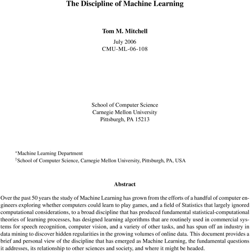 The Discipline of Machine Learning - PDF