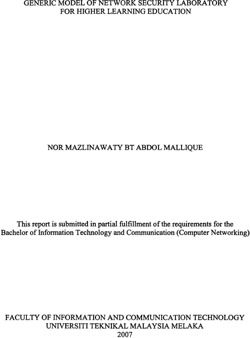 Requirements For The Bachelor Of Information Technology And Communication Computer