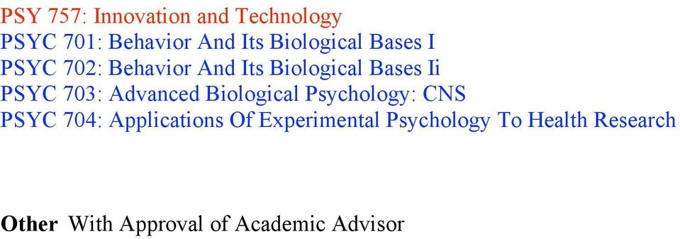 703: Advanced Biological Psychology: CNS PSYC 704: Applications Of