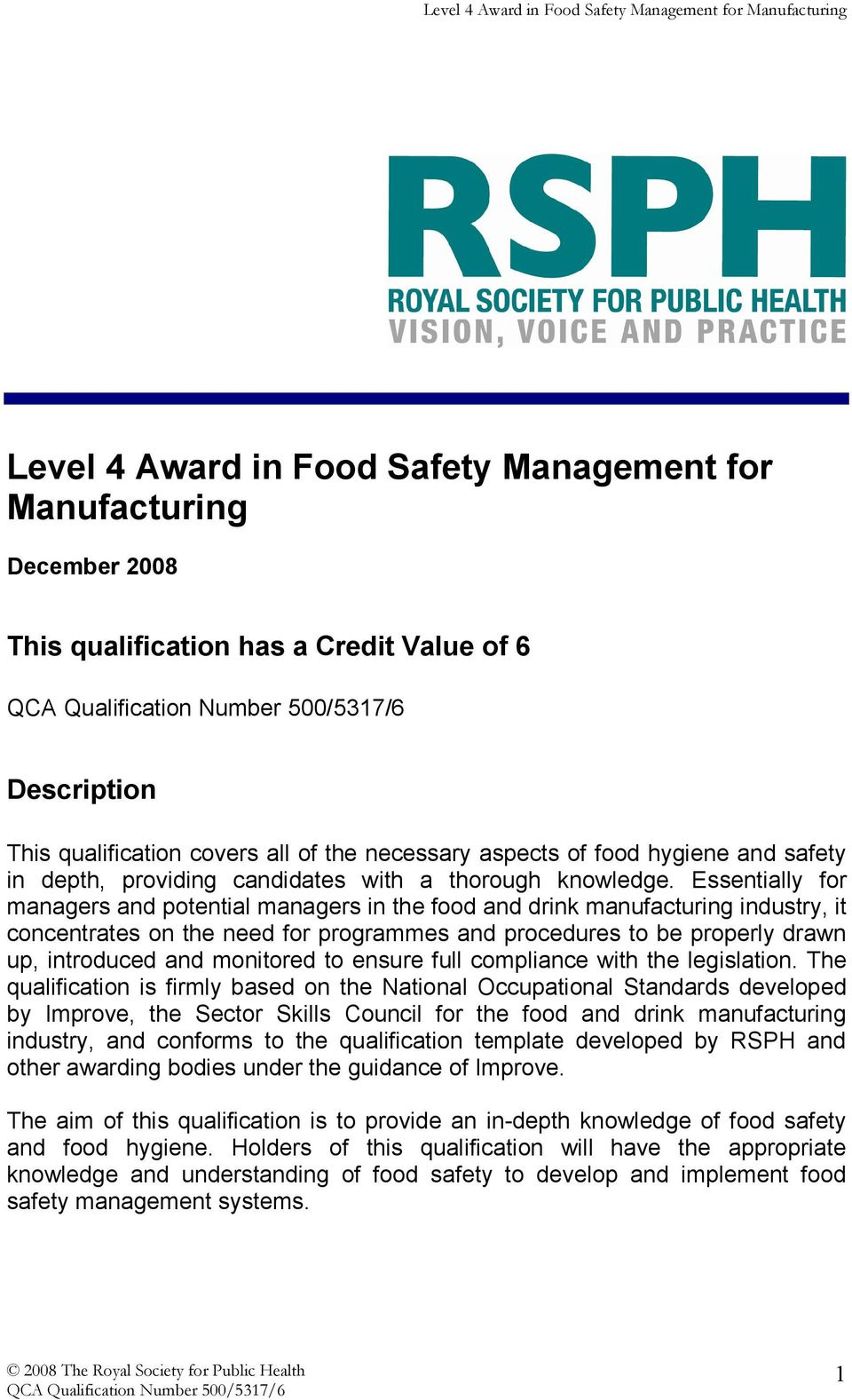 Level 4 Award In Food Safety Management For Manufacturing