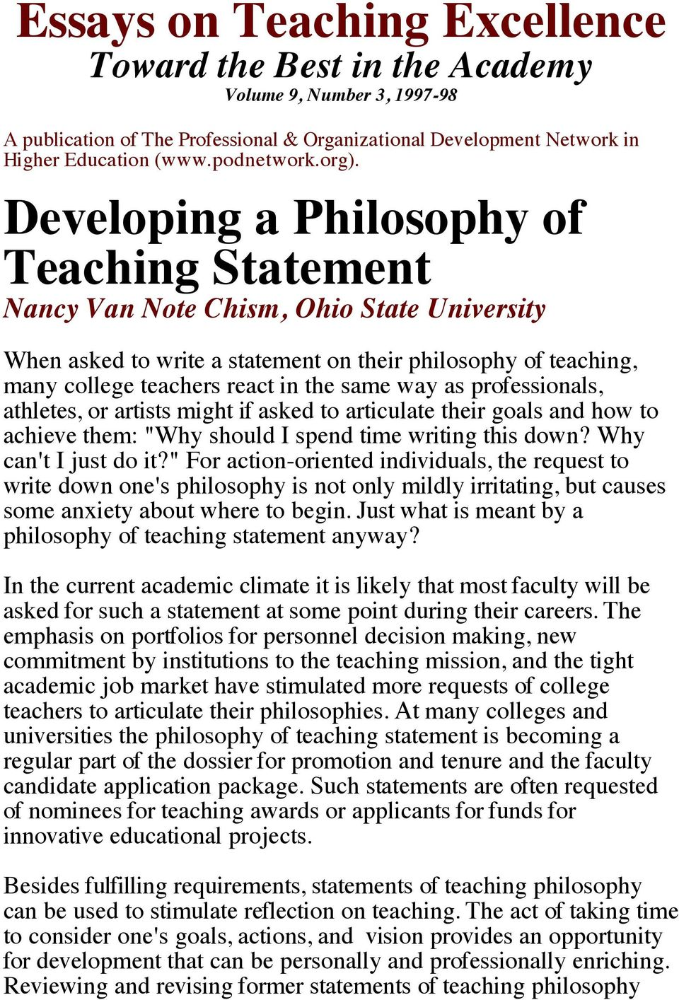 Essays On Teaching Excellence Developing A Philosophy Of Teaching  Same Way As Professionals Athletes Or Artists Might If Asked To  Articulate Their Goals