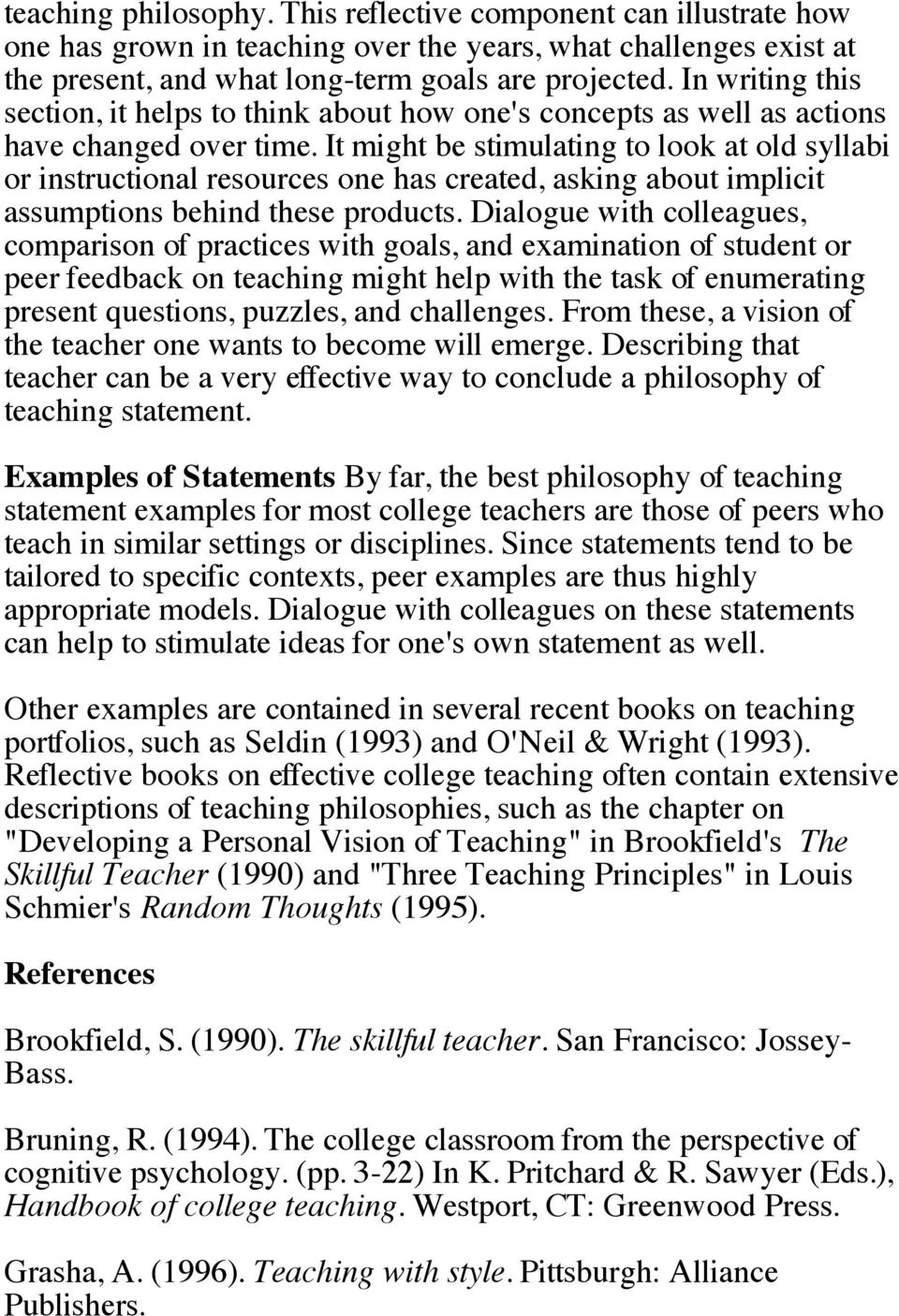 Essays On Teaching Excellence Developing A Philosophy Of