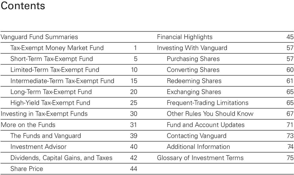 Tax-Exempt Fund 25 Frequent-Trading Limitations 65 Investing in Tax-Exempt Funds 30 Other Rules You Should Know 67 More on the Funds 31 Fund and Account Updates 71 The