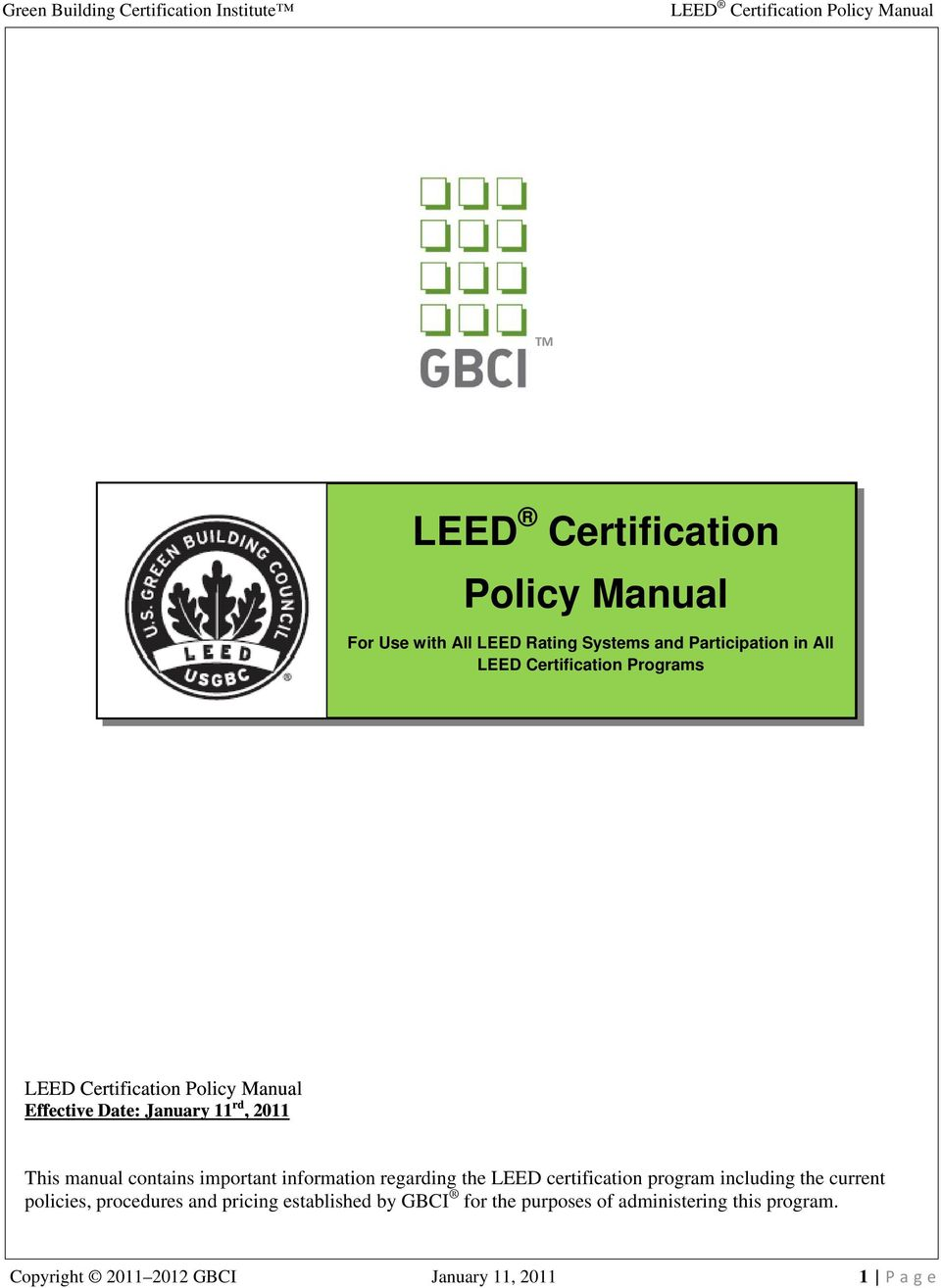 Leed Certification Policy Manual Pdf