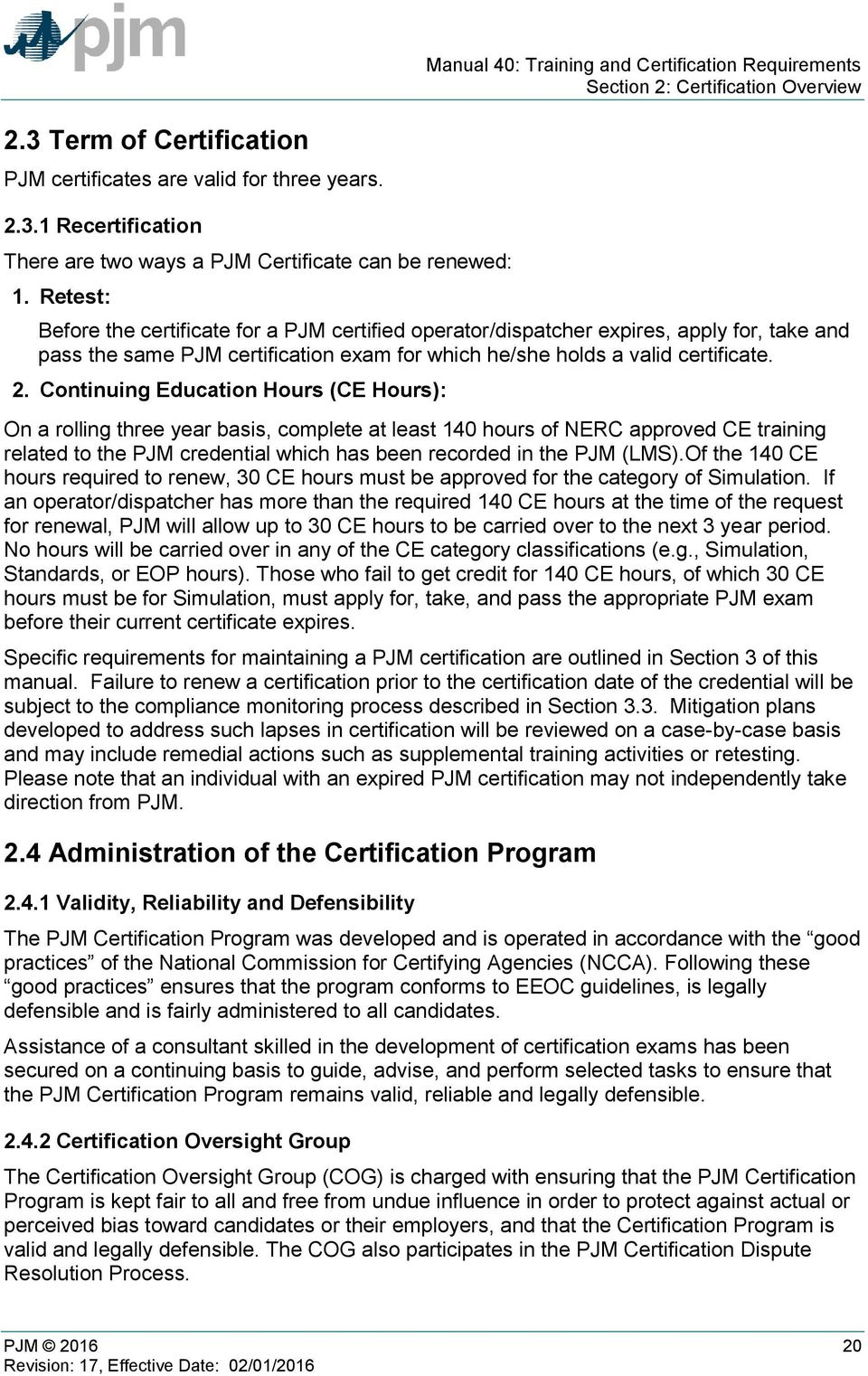 Training and Certification Requirements - PDF