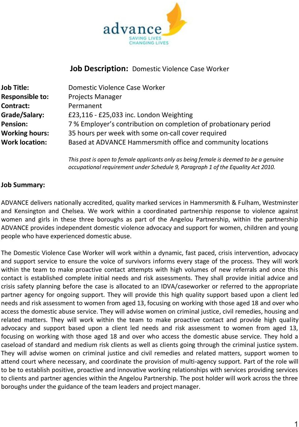 London Weighting 7 % Employer s contribution on completion of probationary period 35 hours per week with some on-call cover required Based at ADVANCE Hammersmith office and community locations This