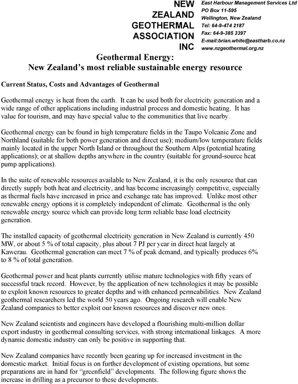 ASSOCIATION INC Geothermal Energy: New Zealand s most