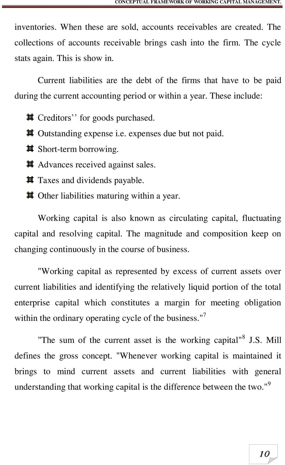 The composition of working capital 73