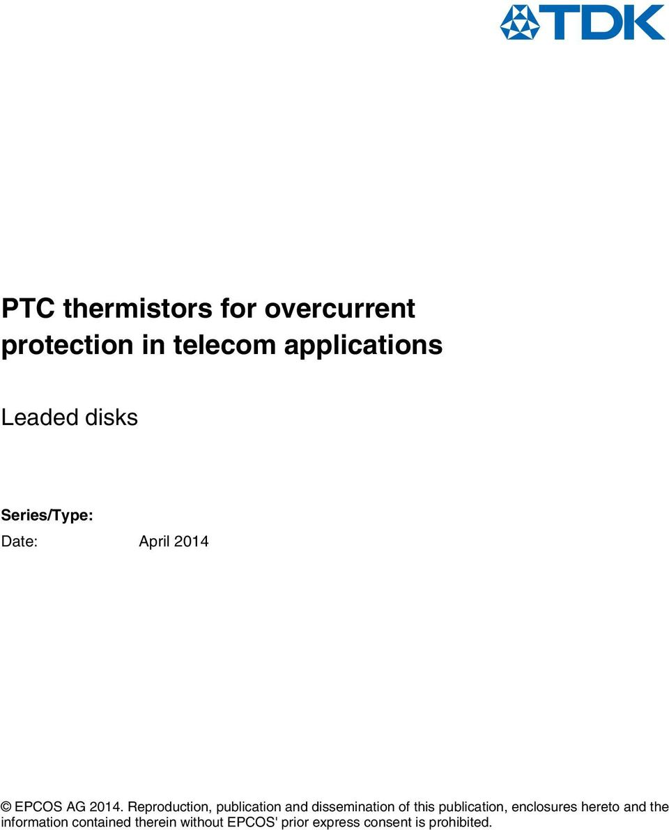 Ptc Thermistors For Overcurrent Protection In Telecom Applications Pdf