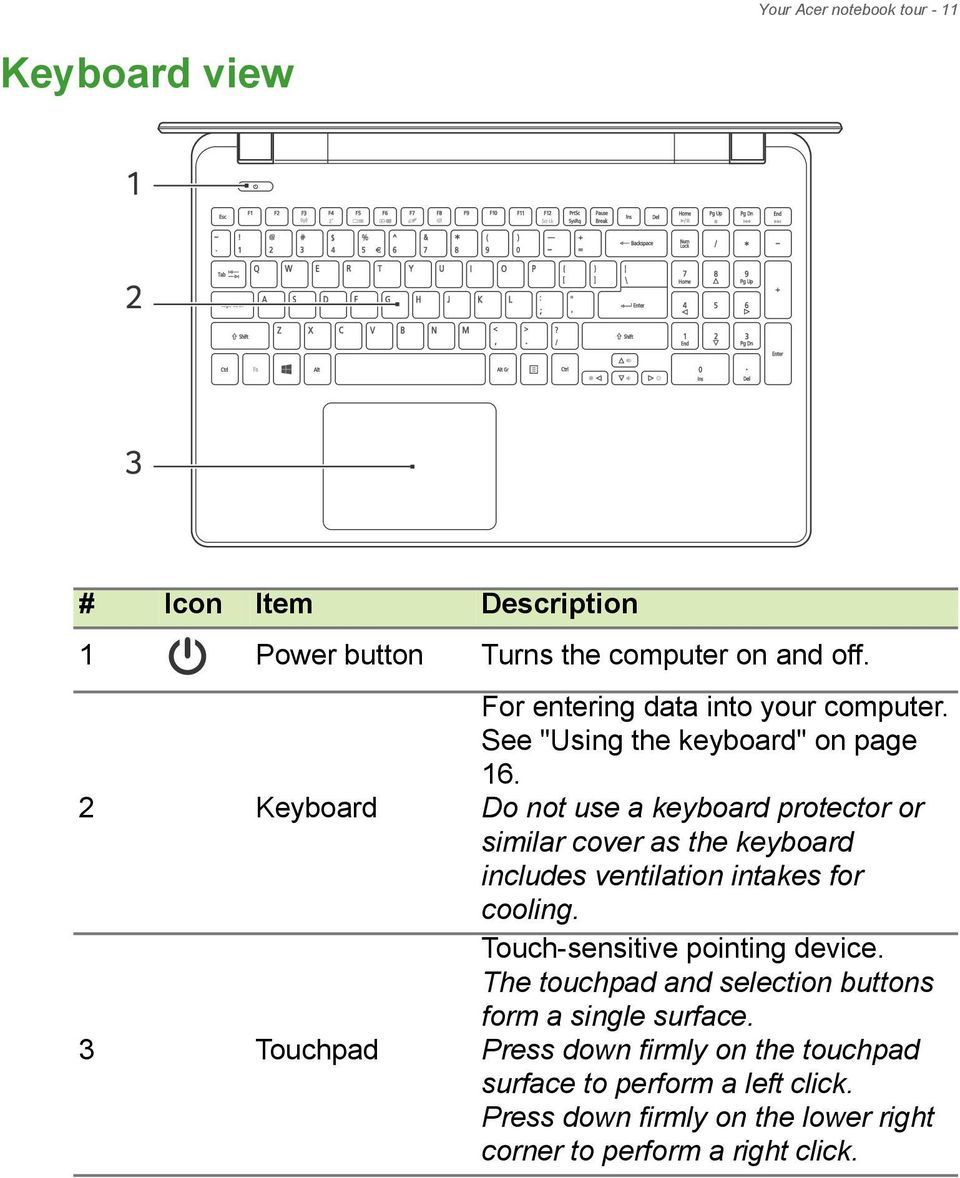 Do not use a keyboard protector or similar cover as the keyboard includes ventilation intakes for cooling.