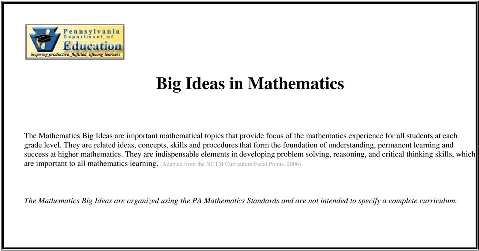 (Adapted from the NCTM Curriculum Focal Points, 2006) The