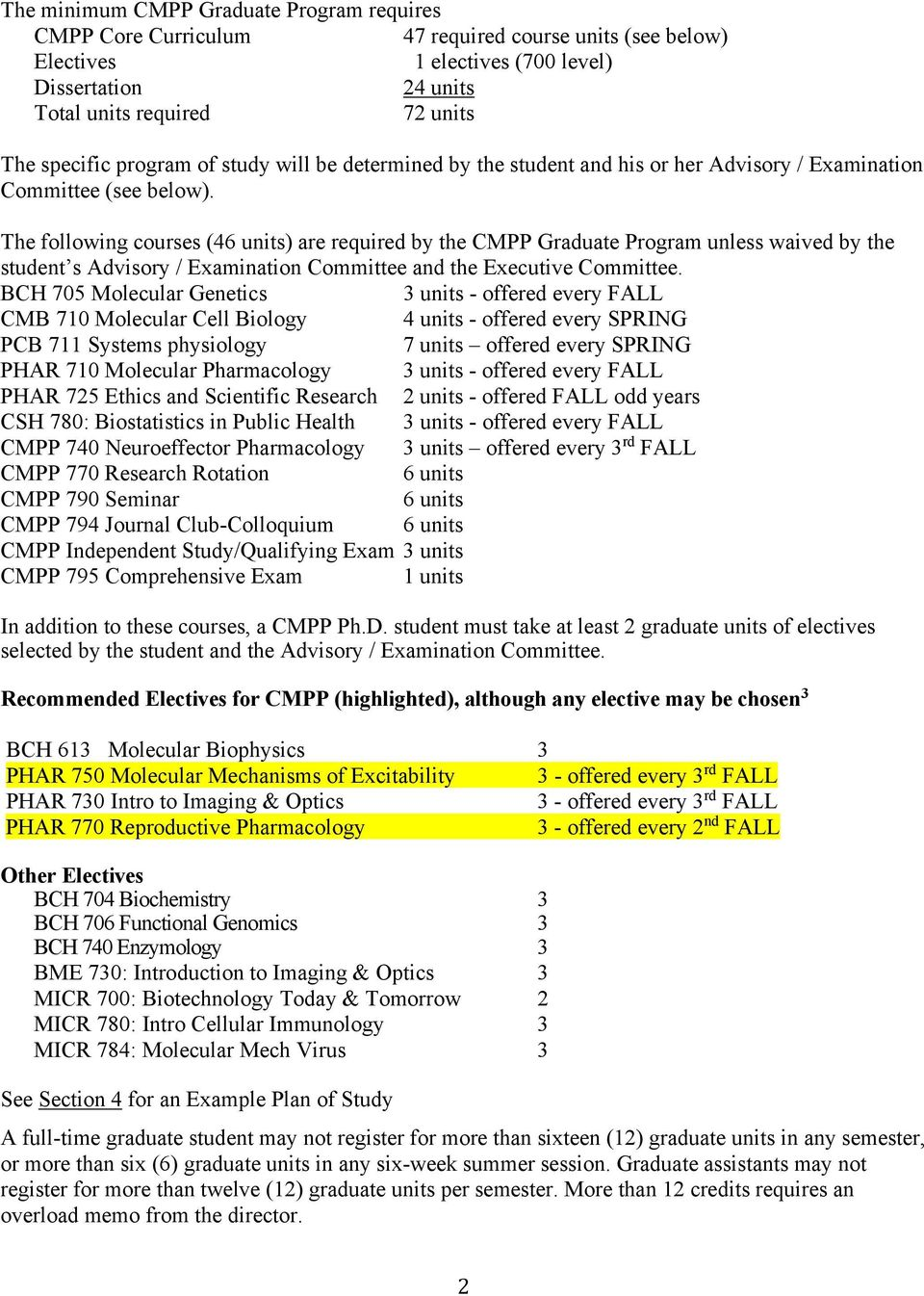 The following courses (46 units) are required by the CMPP Graduate Program unless waived by the student s Advisory / Examination Committee and the Executive Committee.