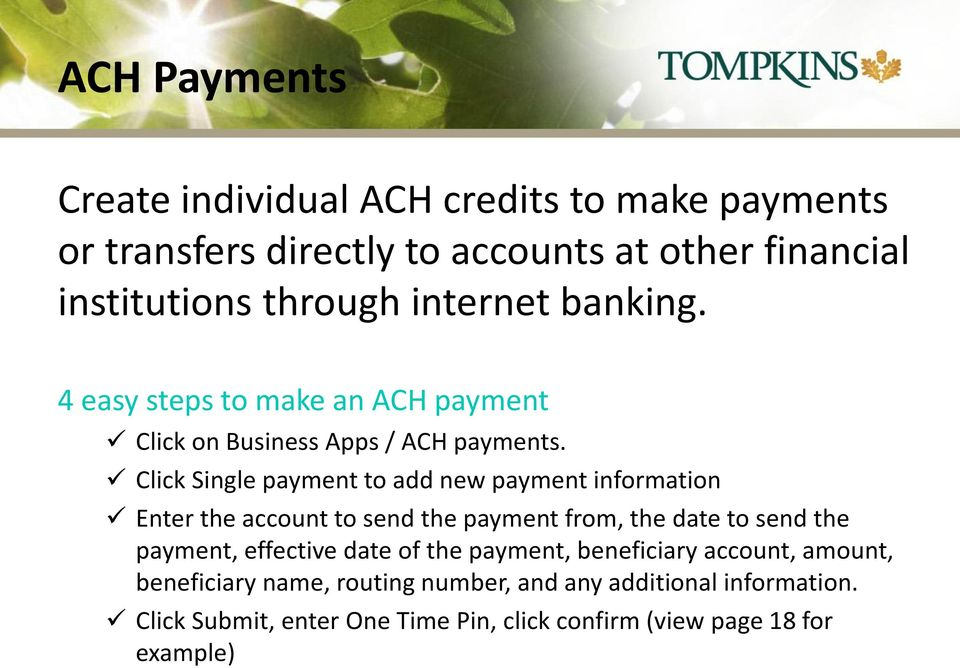 Internet Banking with ACH (Automated Clearing House) - PDF