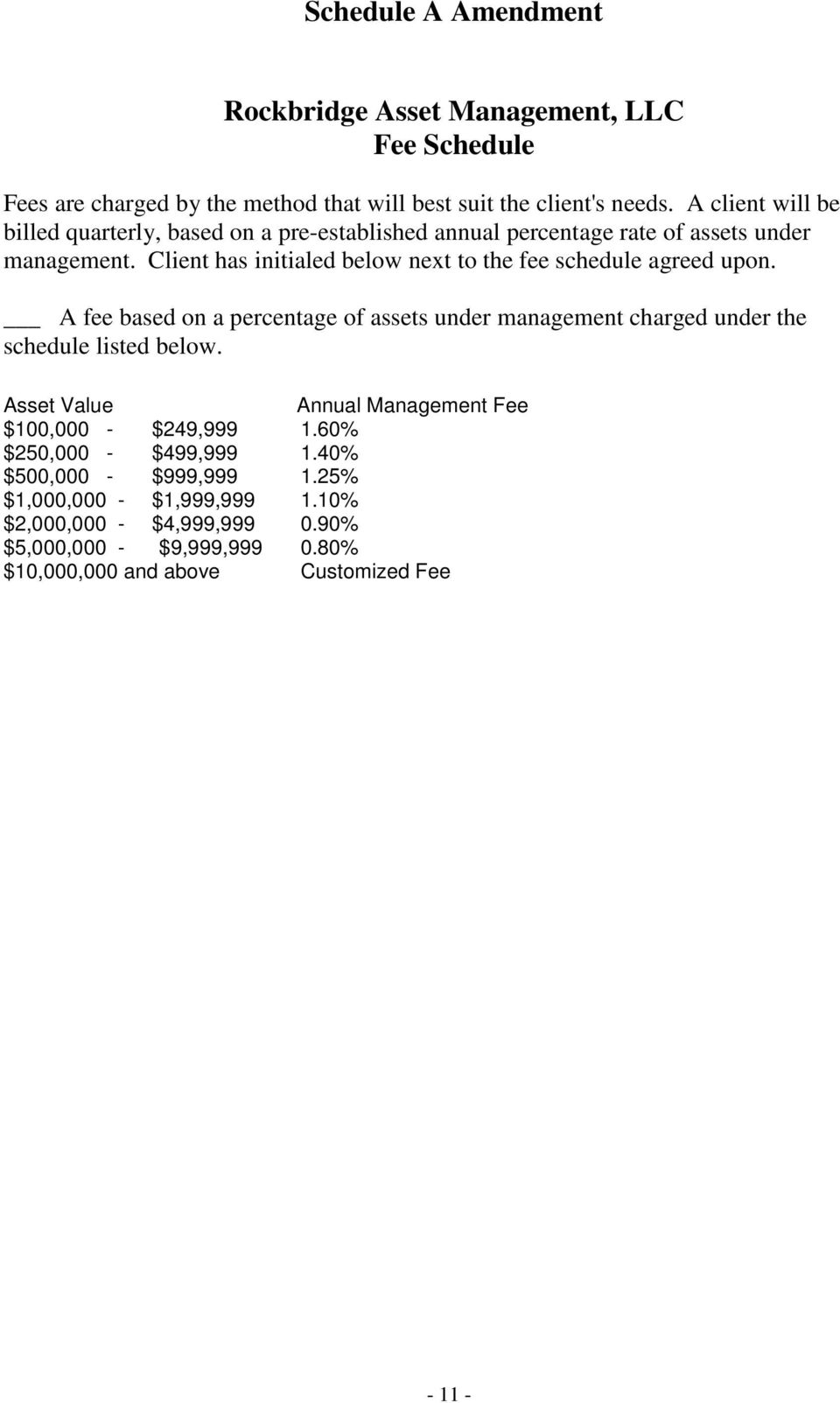 Client has initialed below next to the fee schedule agreed upon. A fee based on a percentage of assets under management charged under the schedule listed below.