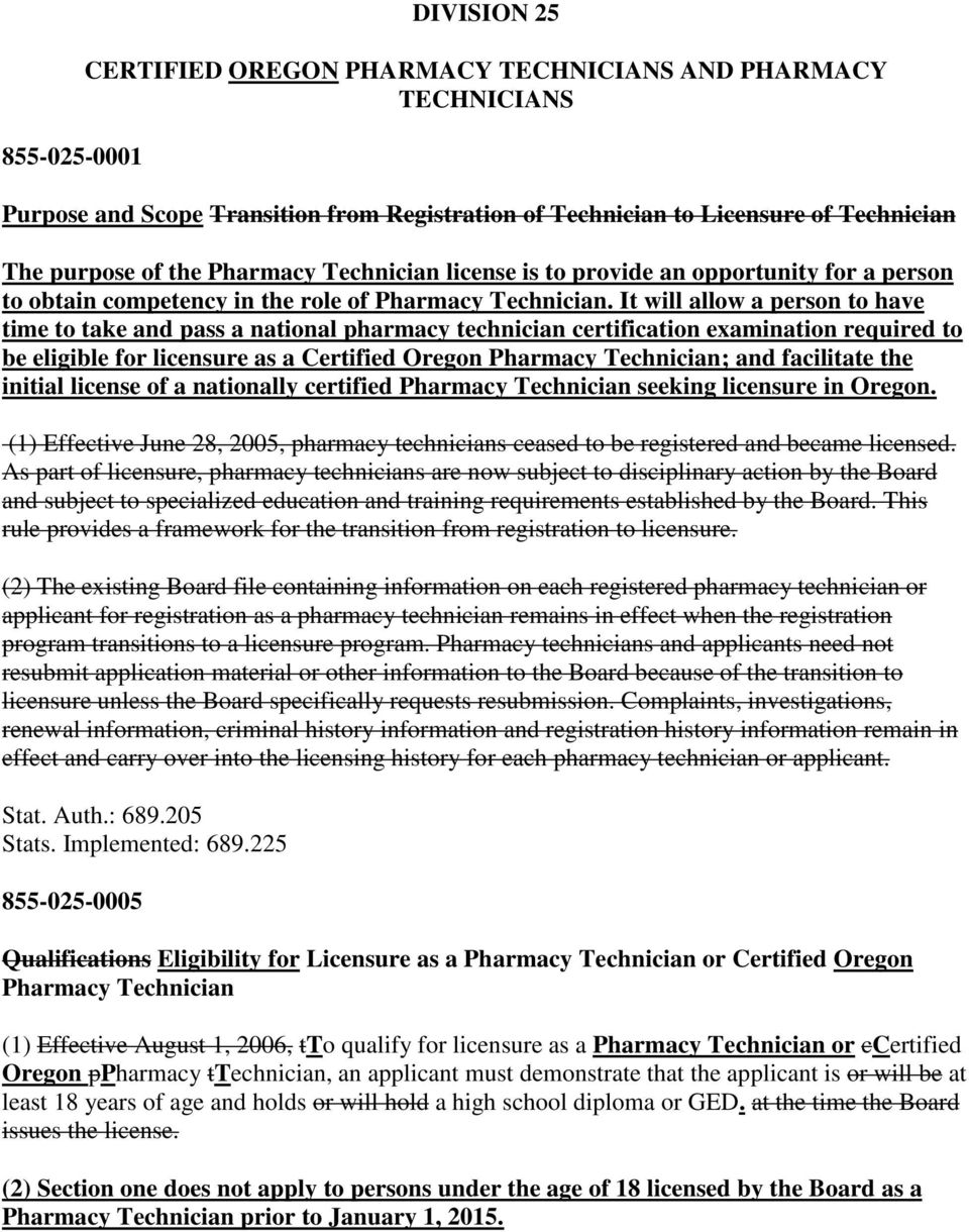Division 25 Certified Oregon Pharmacy Technicians And Pharmacy