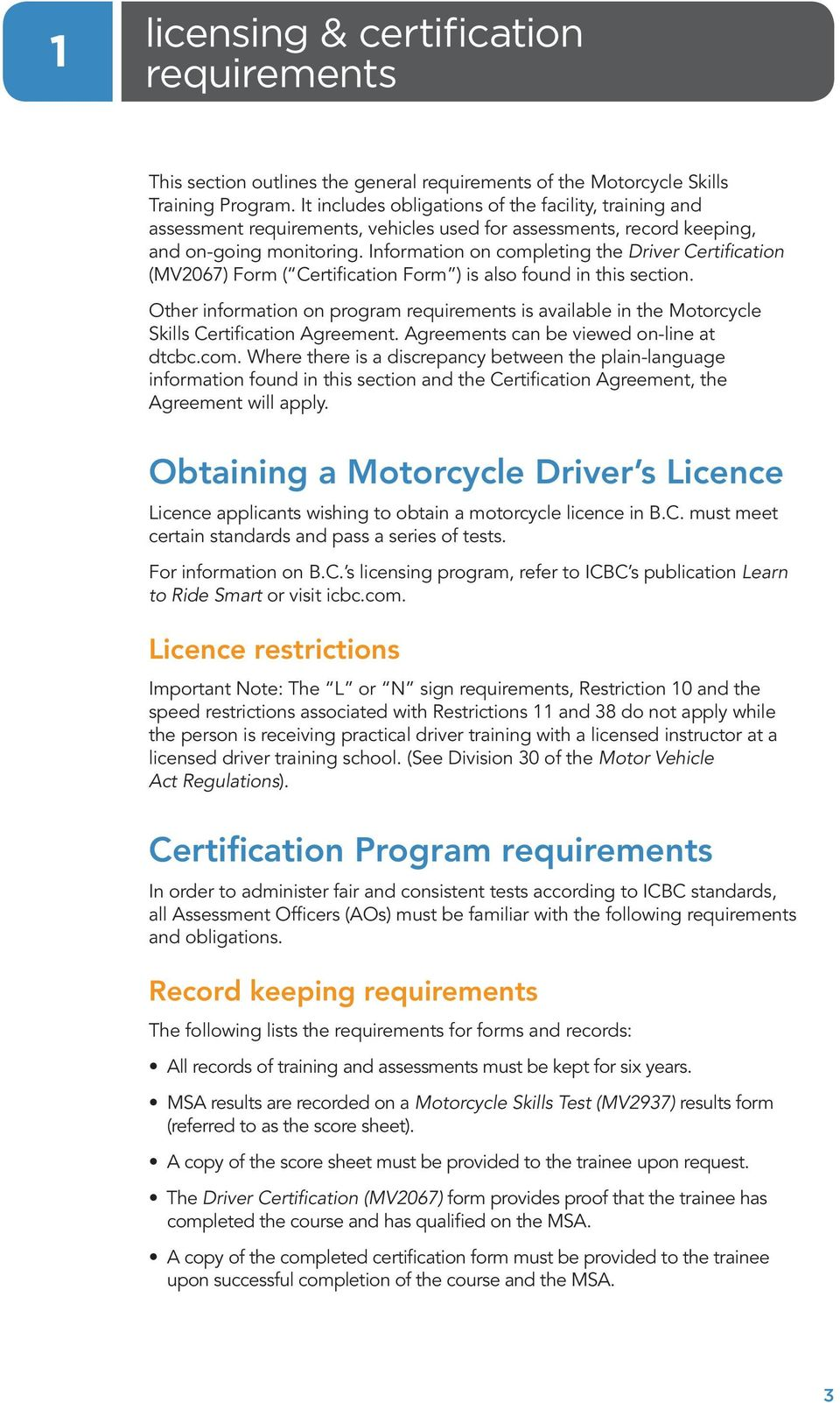motorcycle skills assessment procedures manual for