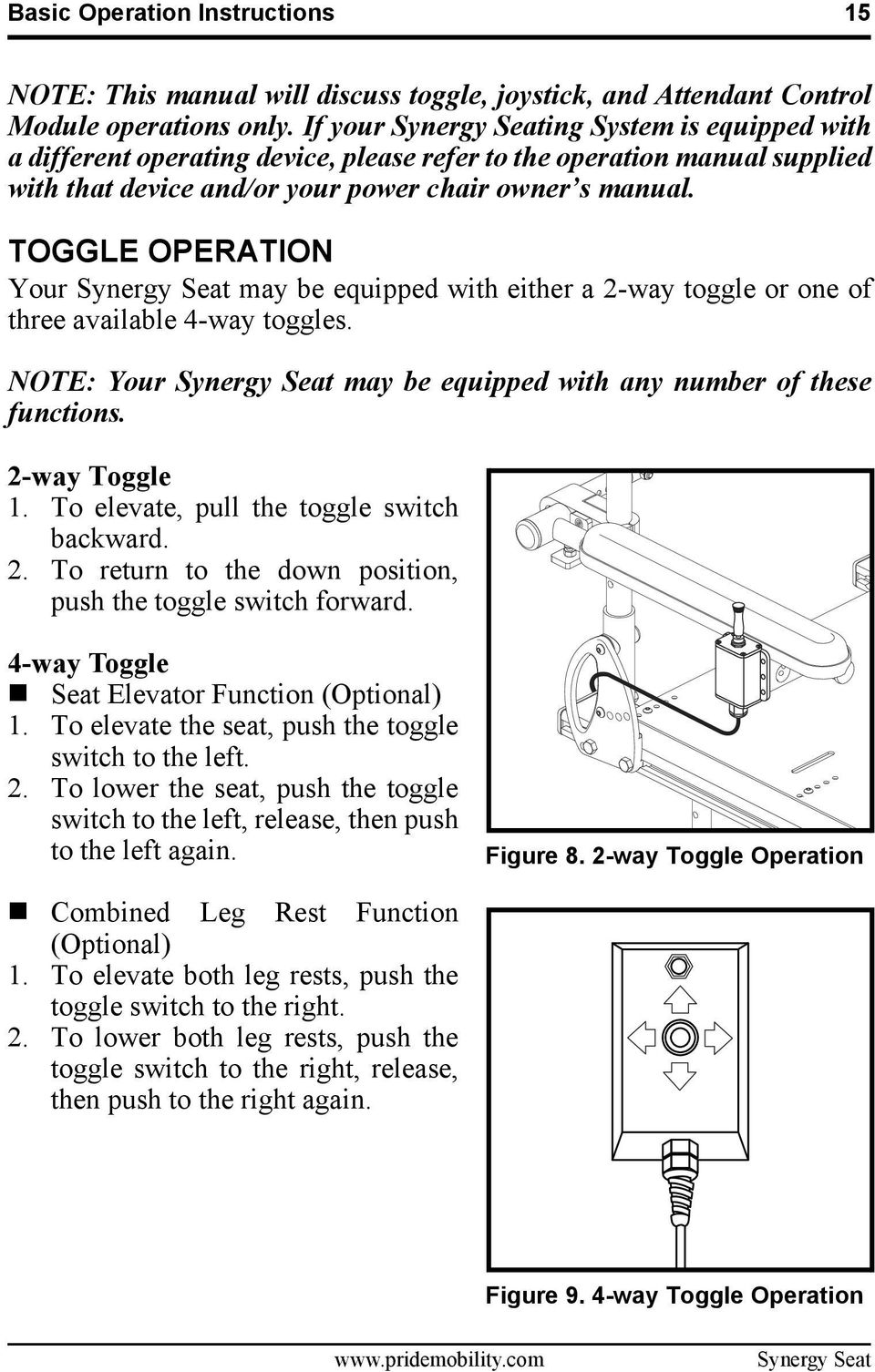 Synergy Tru Balance Basic Operation Instructions Power Tilt 2 Way Switch Toggle Your May Be Equipped With Either A Or One Of
