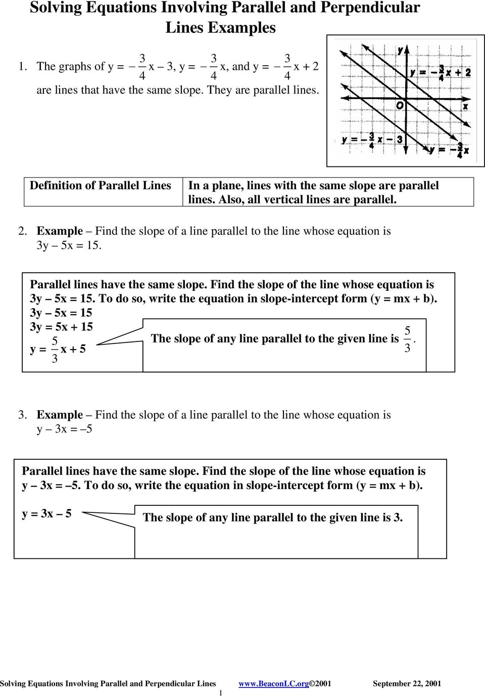 Example Find The Slope Of A Line Parallel To Whose Equation Is Y X