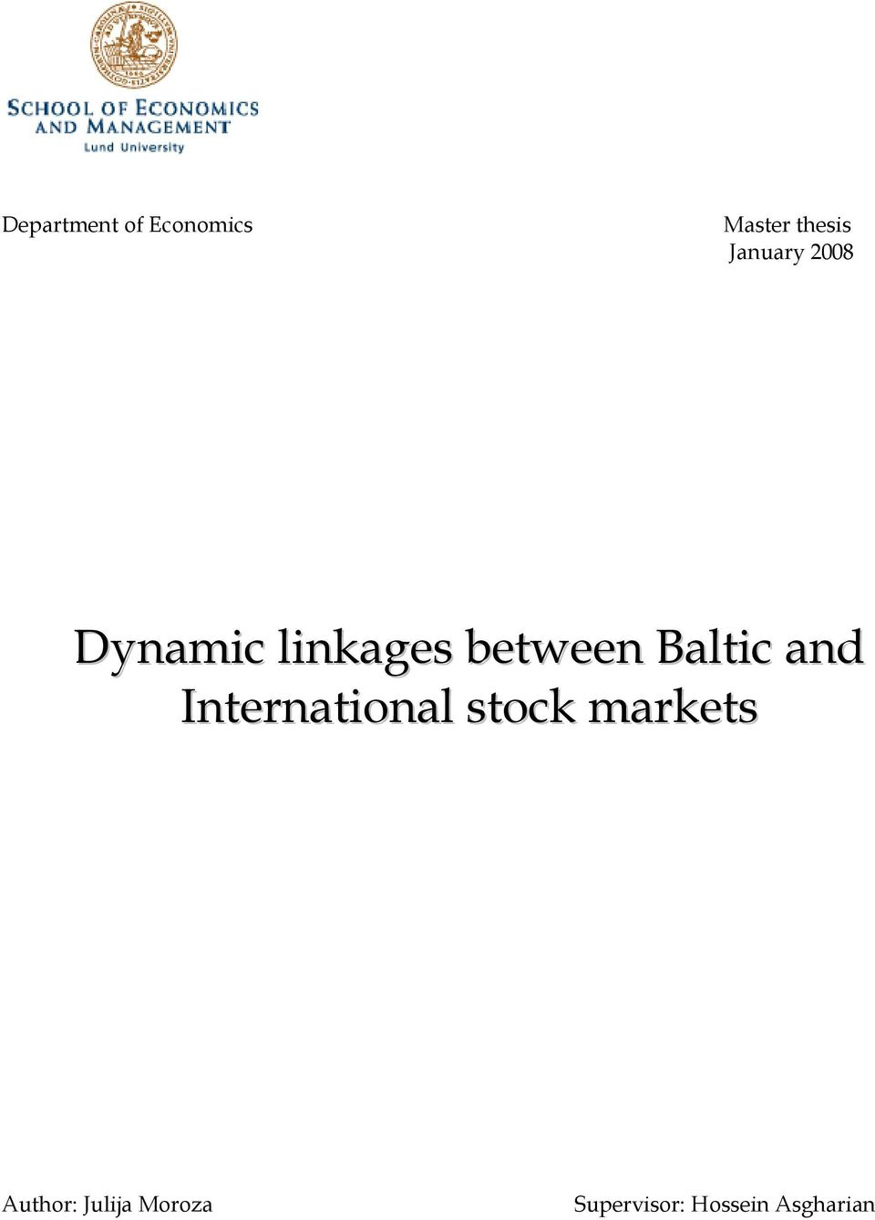 Baltic and International stock markets