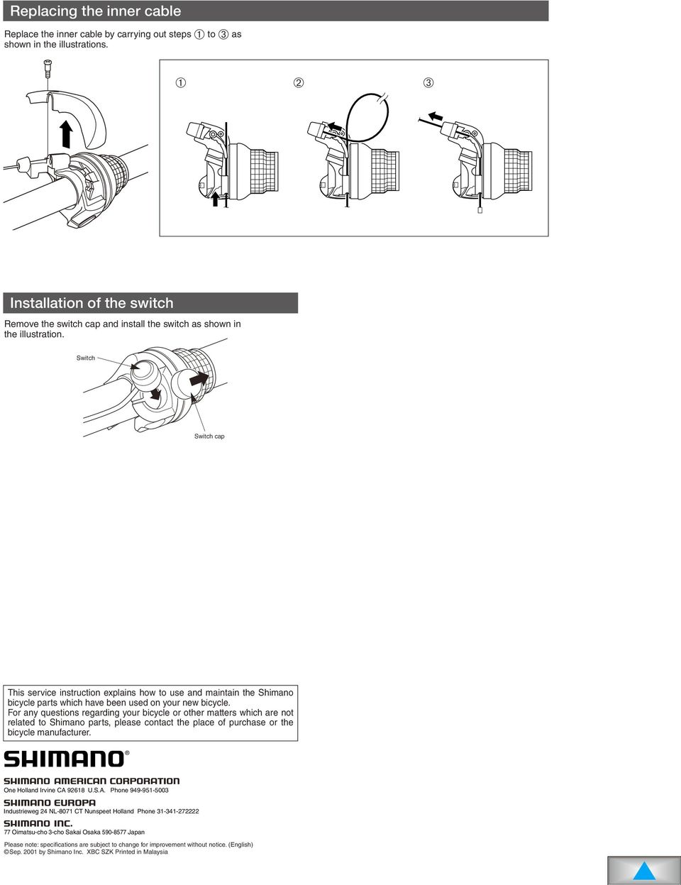 Sl Rs41 7t Rs31 Pdf Shimano Di2 Wiring Diagram Switch Cap This Service Instruction Explains How To Use And Maintain The Bicycle Parts