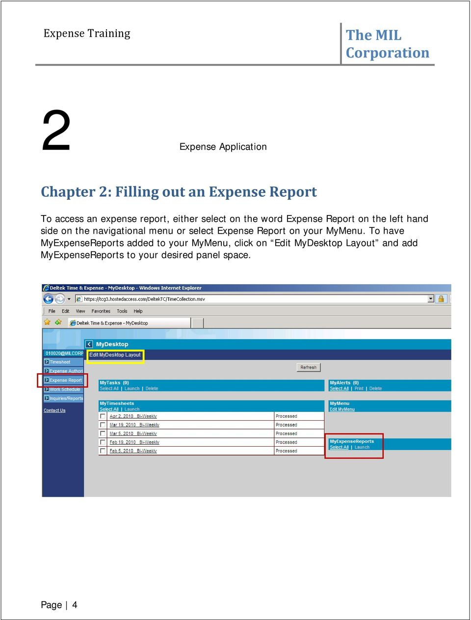 The MIL Corporation  Deltek Expense Report Training - PDF