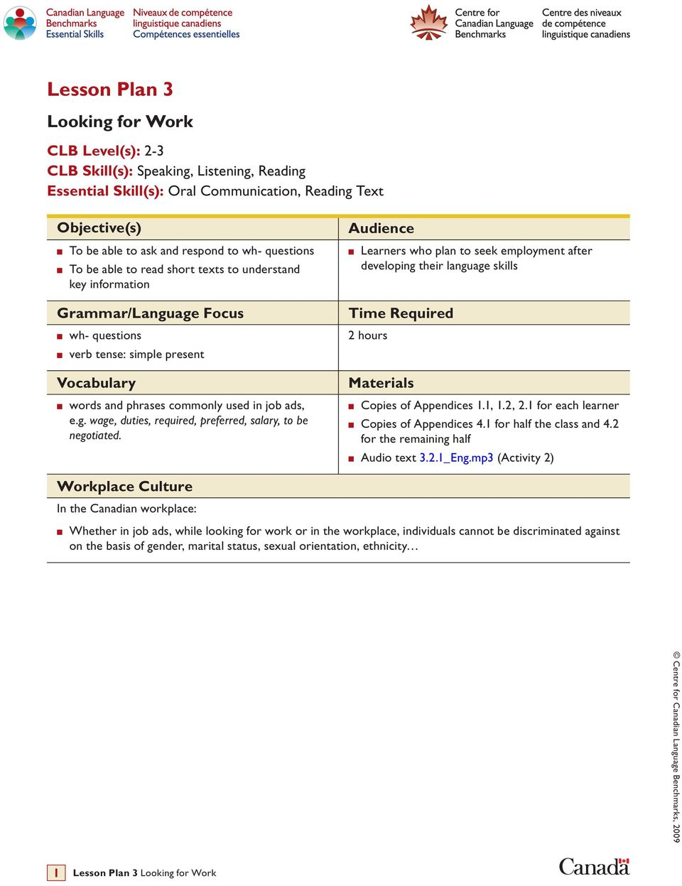 Lesson Plan 3  Looking for Work  CLB Level(s): 2-3 CLB Skill(s