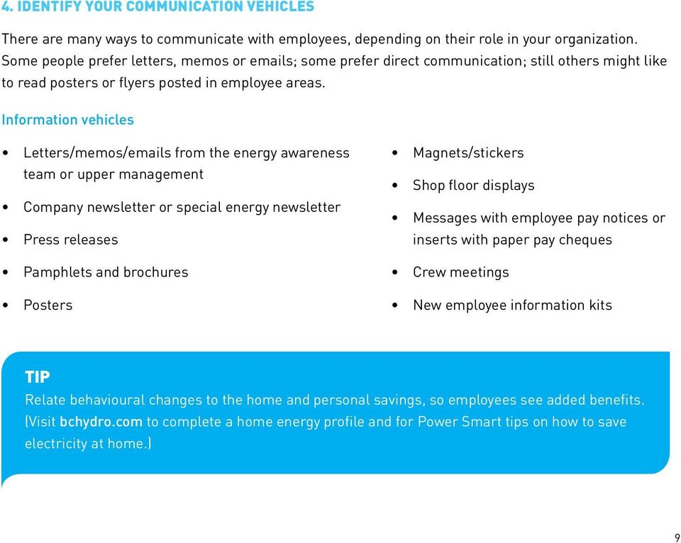 InItIatIves for IndustrIal Customers employee energy