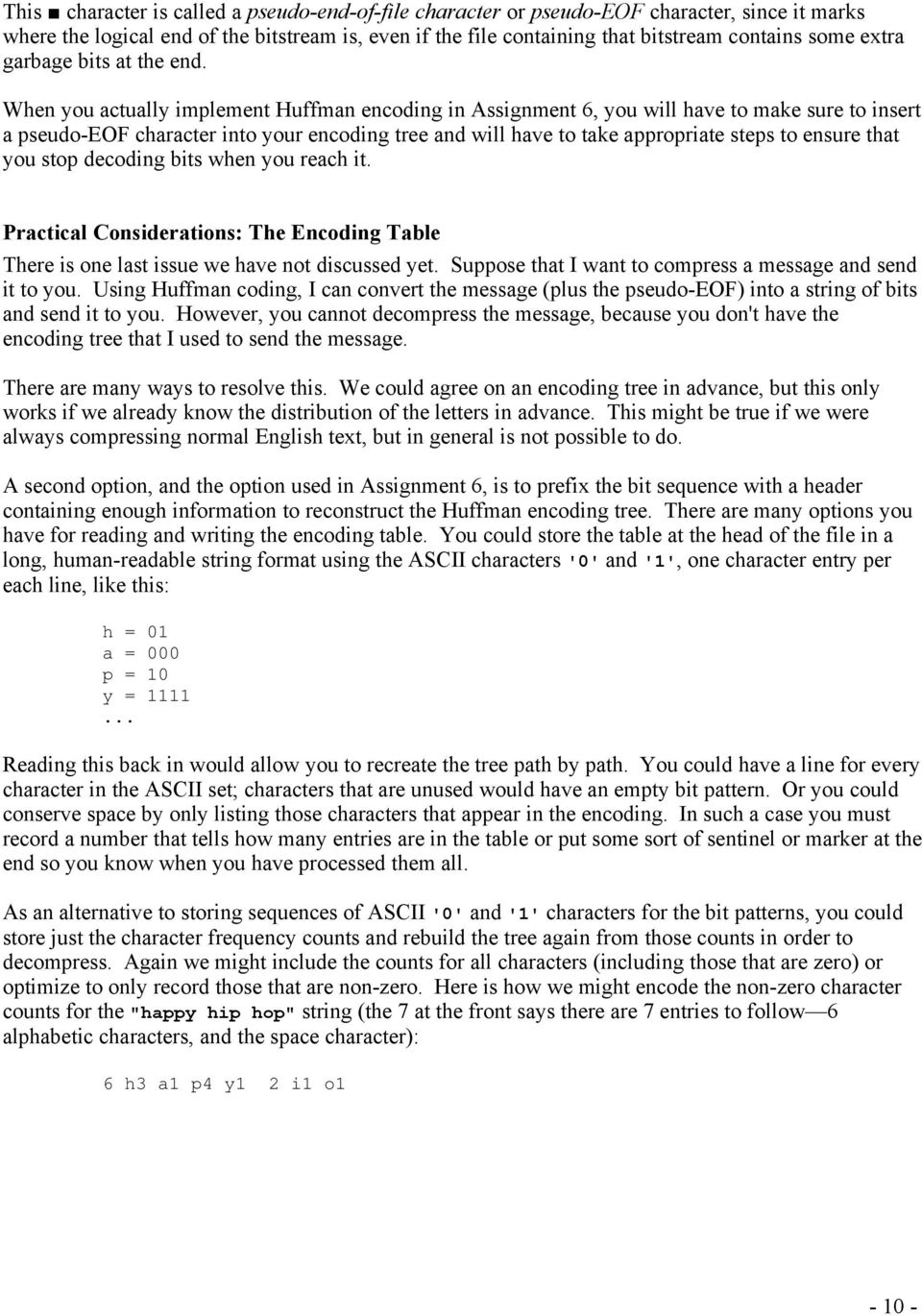 1 - Handout #22 May 23, 2012 Huffman Encoding and Data Compression