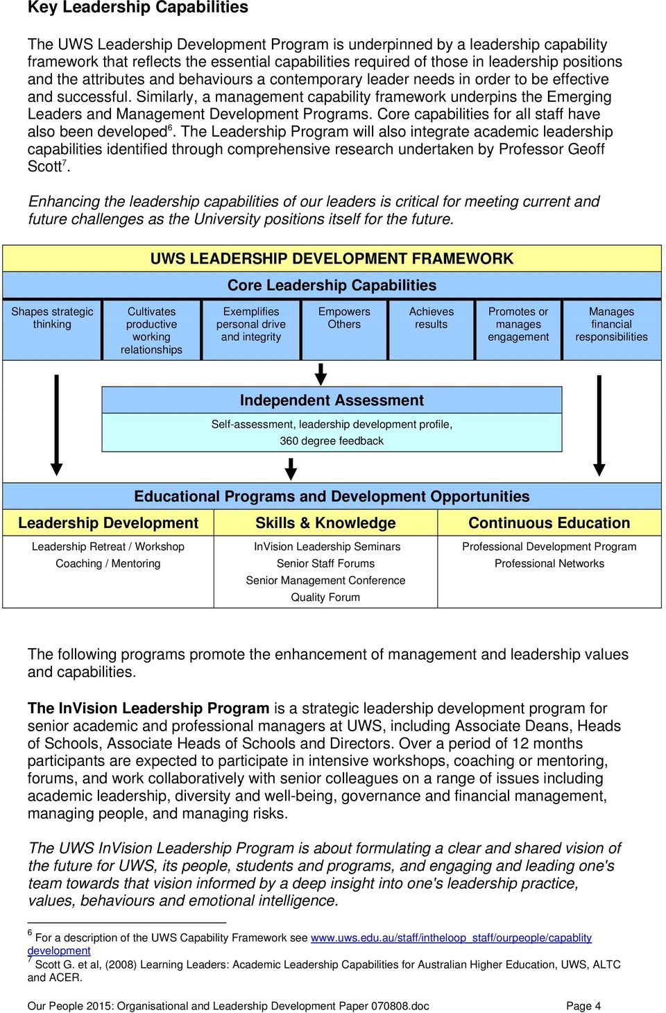 Similarly, a management capability framework underpins the Emerging Leaders and Management Development Programs. Core capabilities for all staff have also been developed 6.