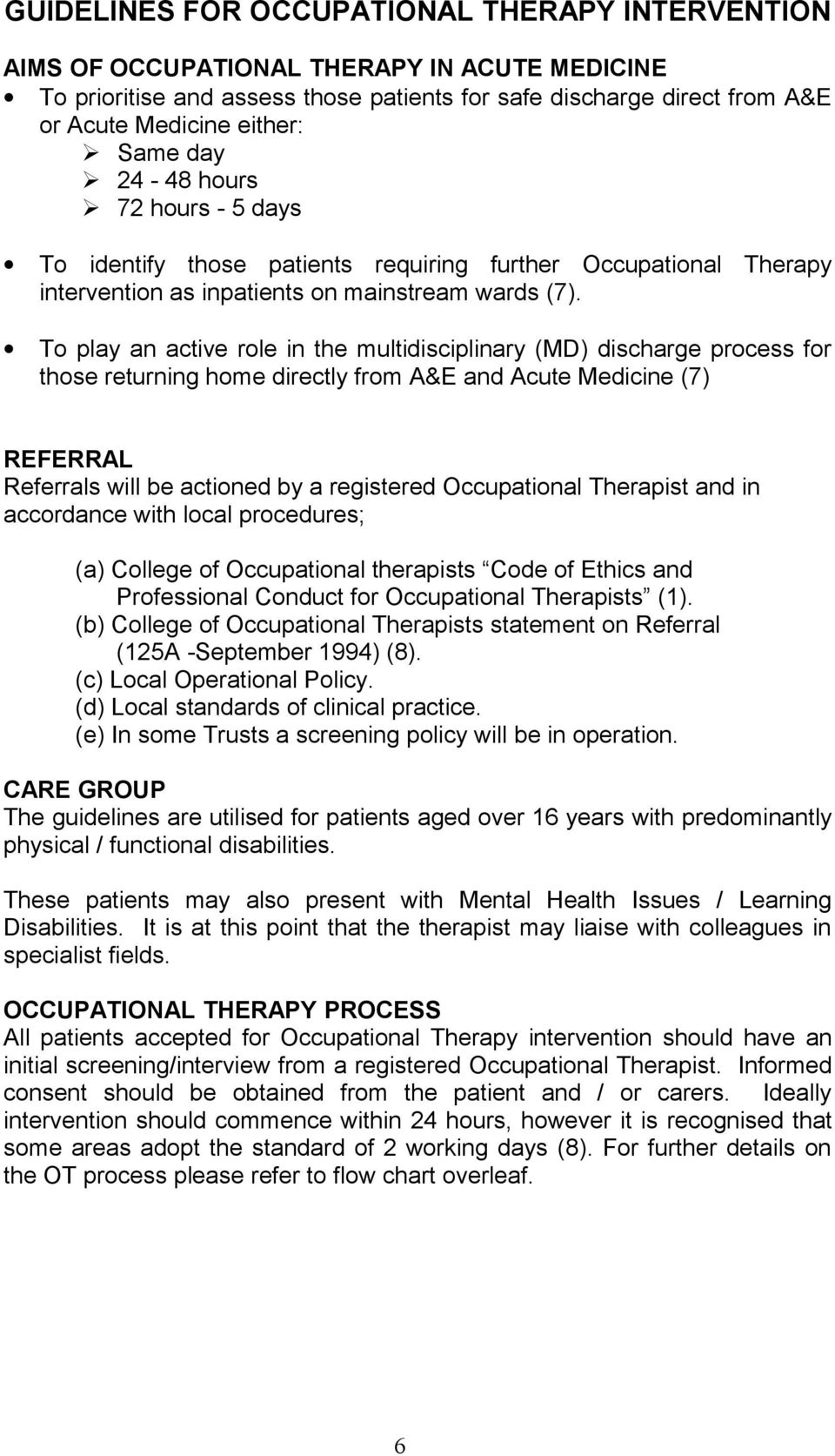 Occupational Therapy Best Practice Guidelines For Acute Medical Services Pdf Free Download