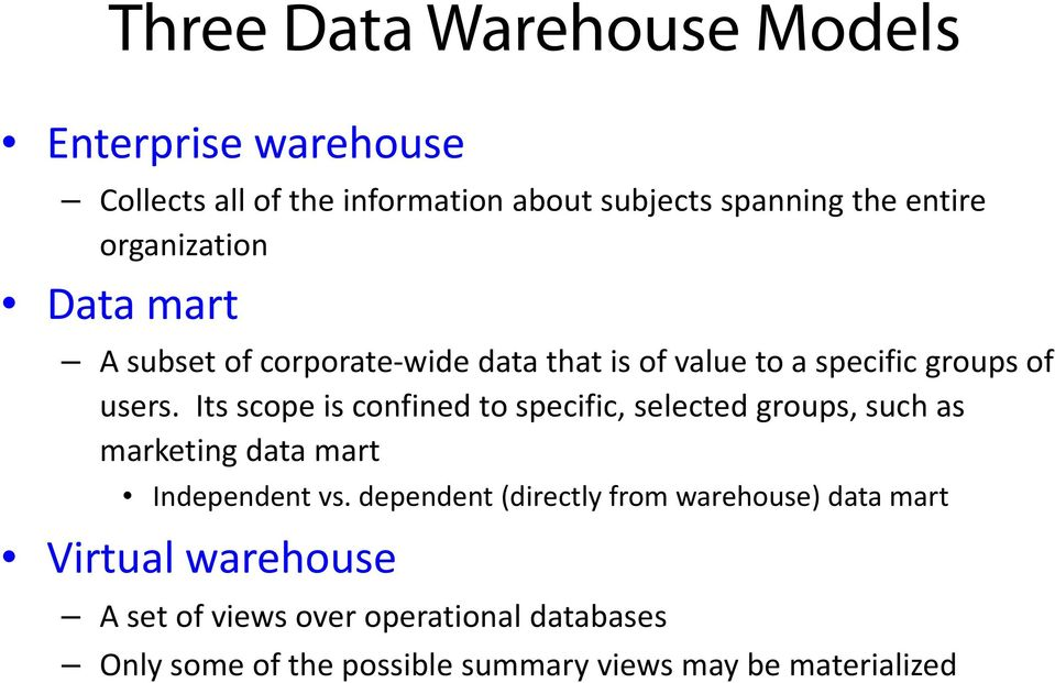 Its scope is confined to specific, selected groups, such as marketing data mart Independent vs.