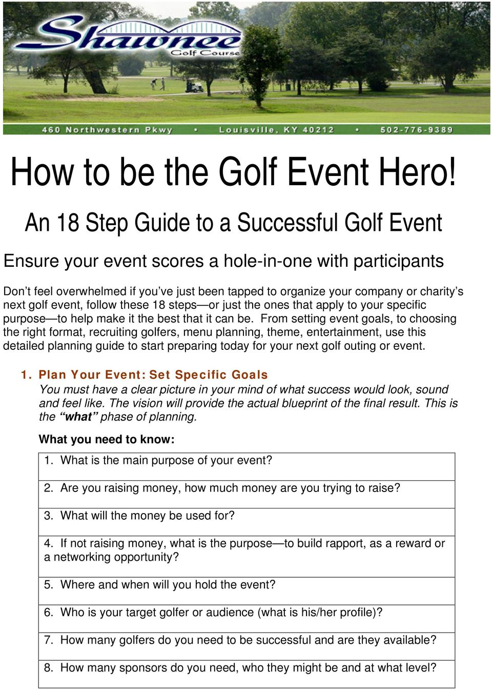How to be the Golf Event Hero! - PDF