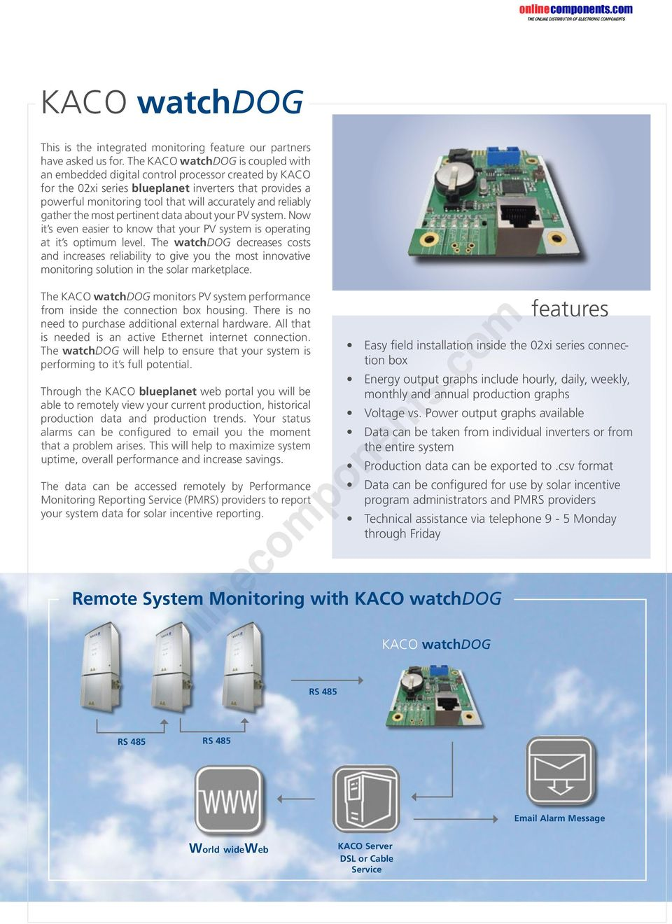 KACO-monitoring  onlinecomponents com  Integrated monitoring