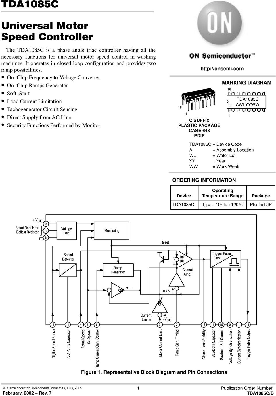 Tda1085c Marking Diagram Ordering Information Figure 1 Control Block Using Resistors For Both Current And Voltage On Chip Frequency To Converter Ramps Generator Soft Start Load Limitation Tachogenerator