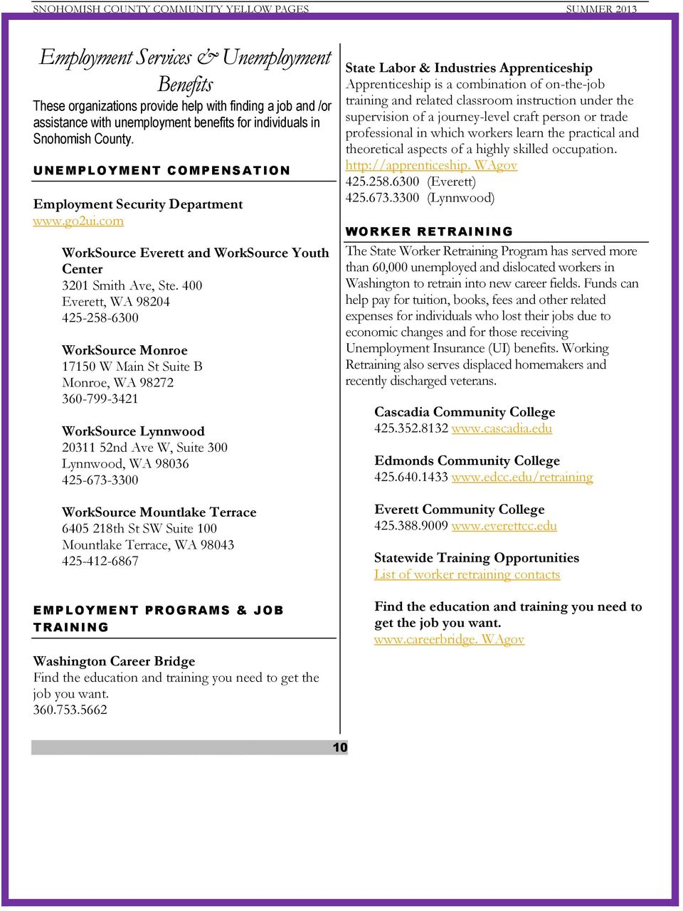 SNOHOMISH COUNTY COMMUNITY YELLOW PAGES  Summer PDF