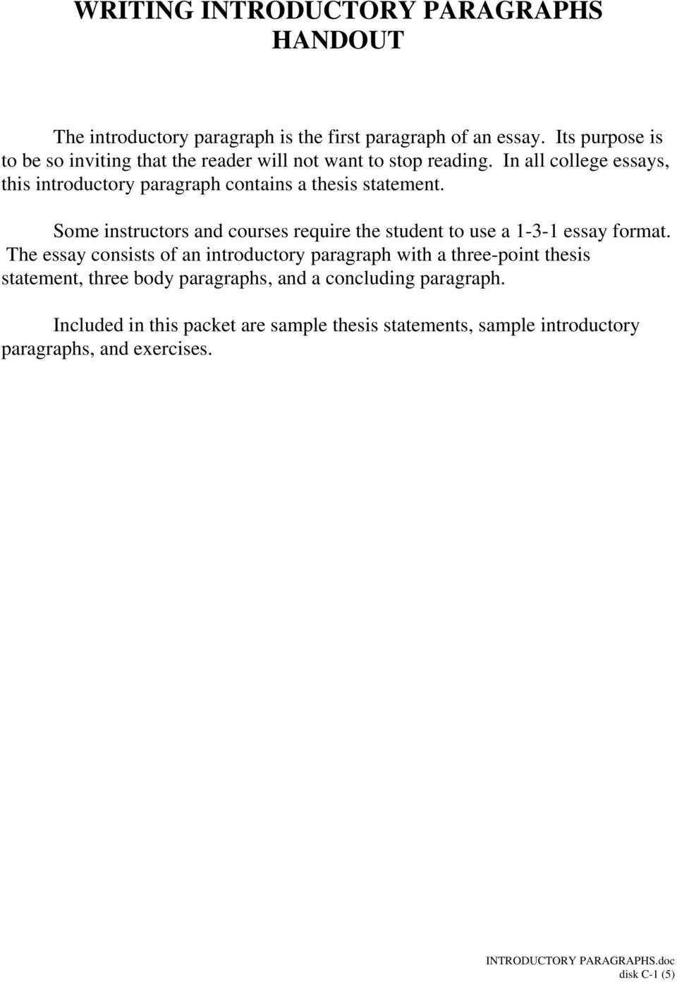how to conclude an introductory paragraph