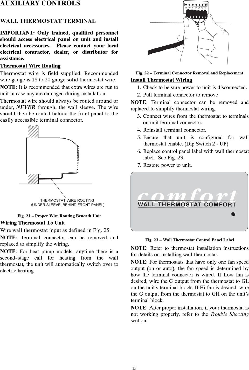 Installation And Operating Instructions Pdf Heat Pump Auxiliary Thermostat Wiring Recommended Wire Gauge Is 18 To 20 Solid Note It