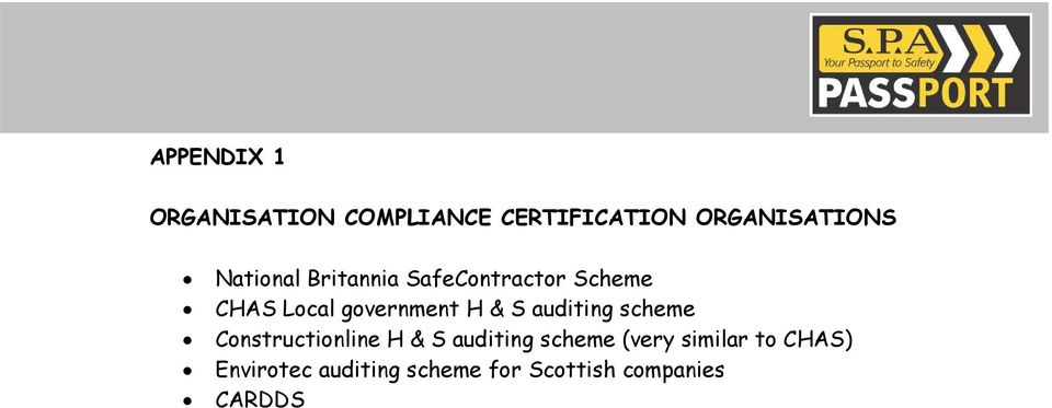 S auditing scheme Constructionline H & S auditing scheme (very