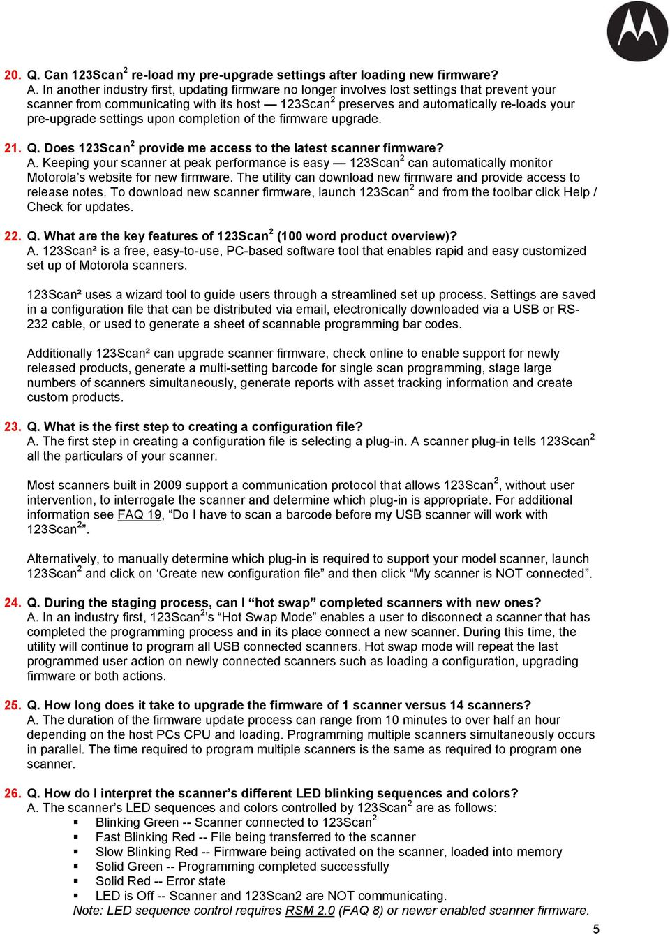 FREQUENTLY ASKED QUESTIONS (FAQs) 123Scan 2 Scanner