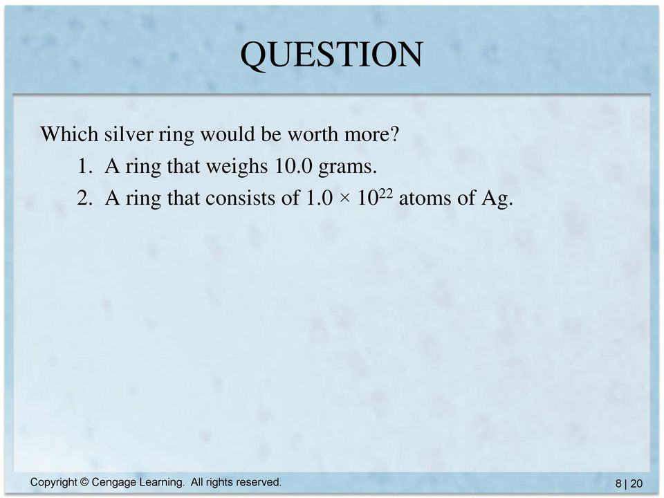 A ring that consists of 1.0 10 22 atoms of Ag.