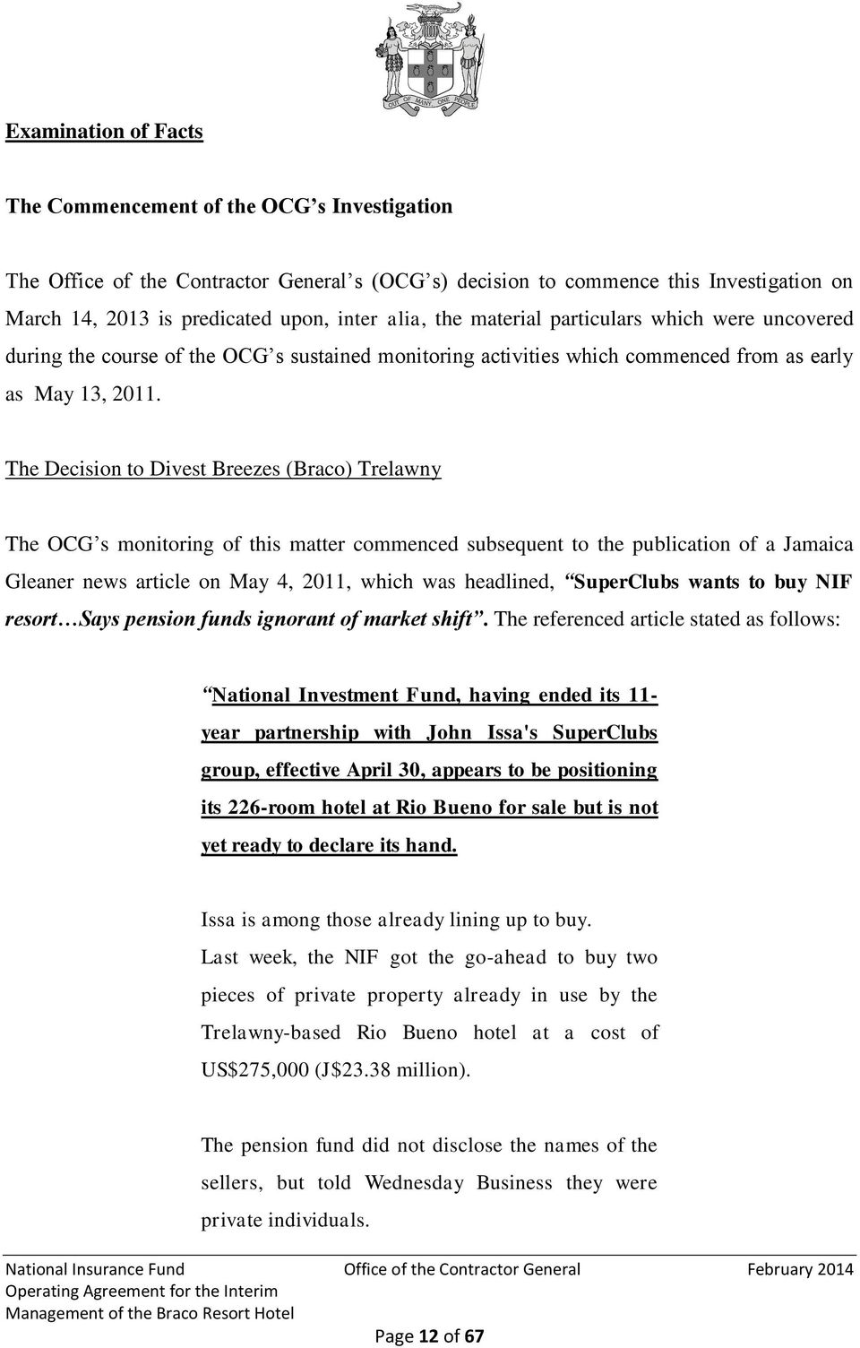 OFFICE OF THE CONTRACTOR GENERAL OF JAMAICA  Special Report of