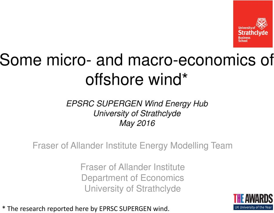 Energy Modelling Team Fraser of Allander Institute Department of Economics