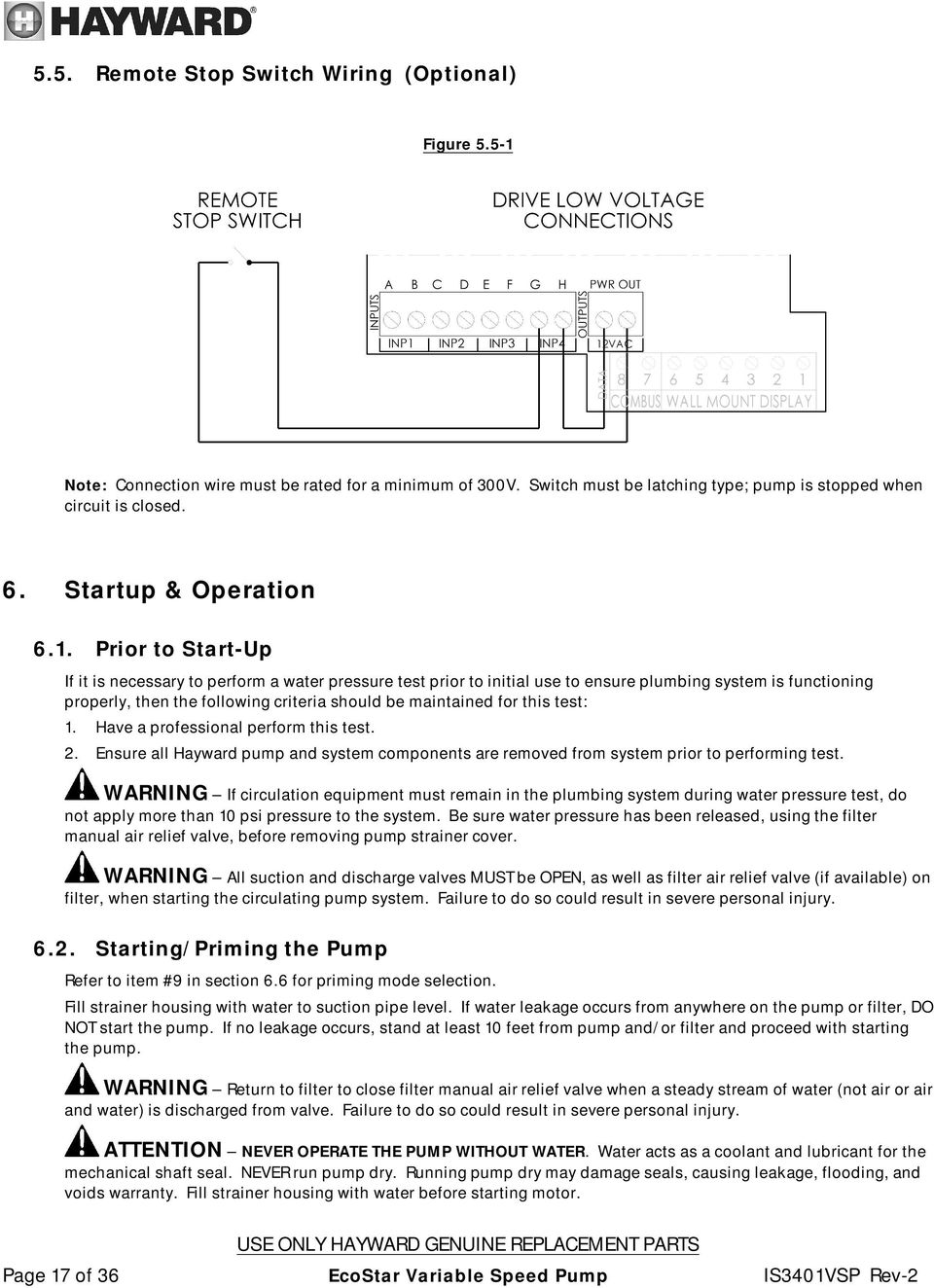 Ecostar Owner S Manual Models Sp3400vsp Sp3400vspvr Hayward Pool Pump Wiring Diagram Besides Gas Valve In Prior To Start Up If It Is Necessary Perform A Water Pressure Test