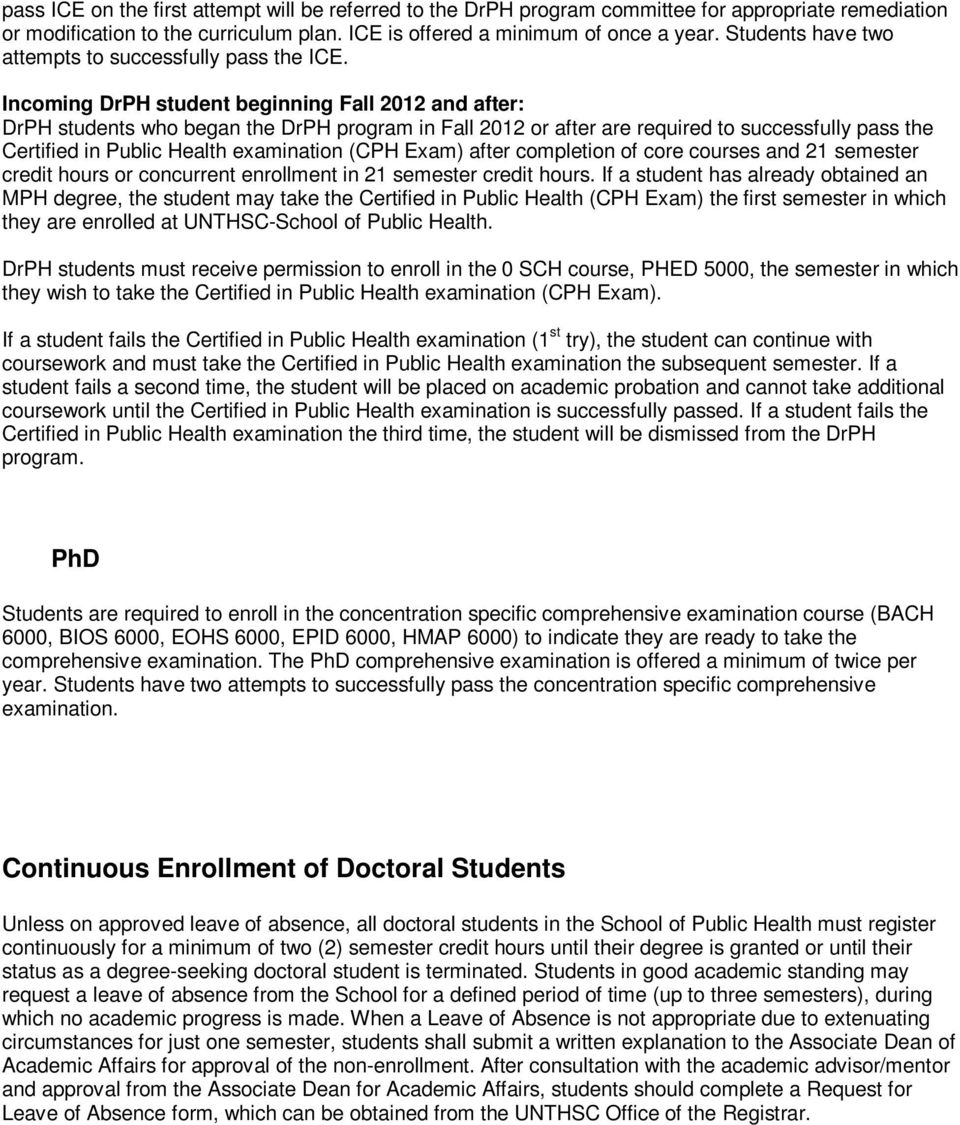 Incoming DrPH student beginning Fall 2012 and after: DrPH students who began the DrPH program in Fall 2012 or after are required to successfully pass the Certified in Public Health examination (CPH