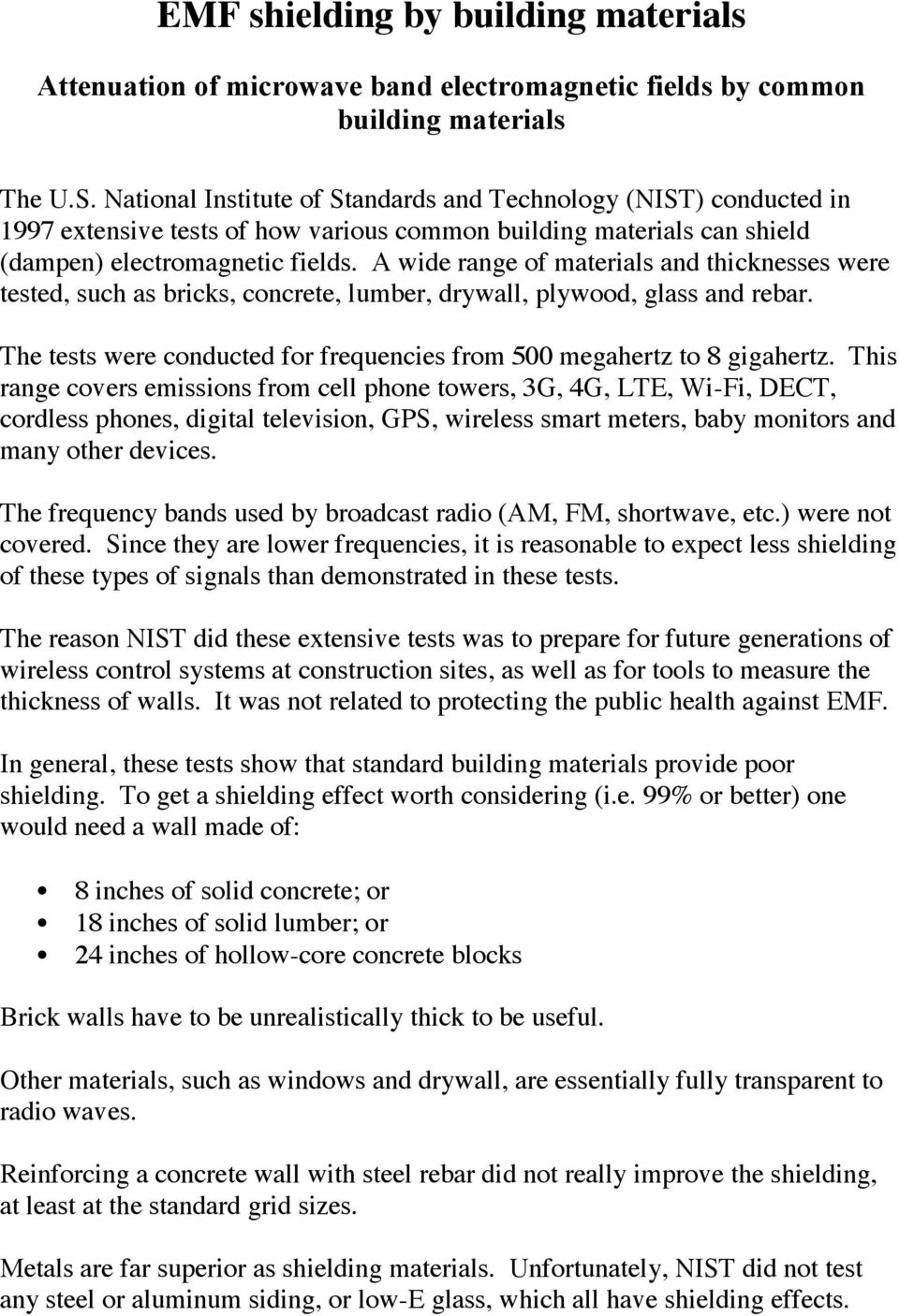 EMF shielding by building materials - PDF