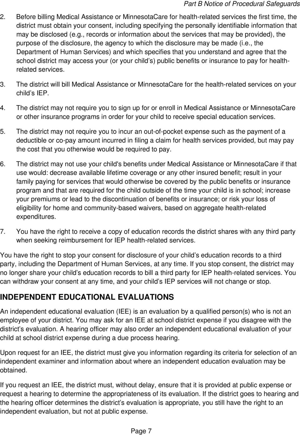 Notice Of Special Education Procedural Safeguards For Ospi >> Part B Notice Of Procedural Safeguards Parental Rights For Public